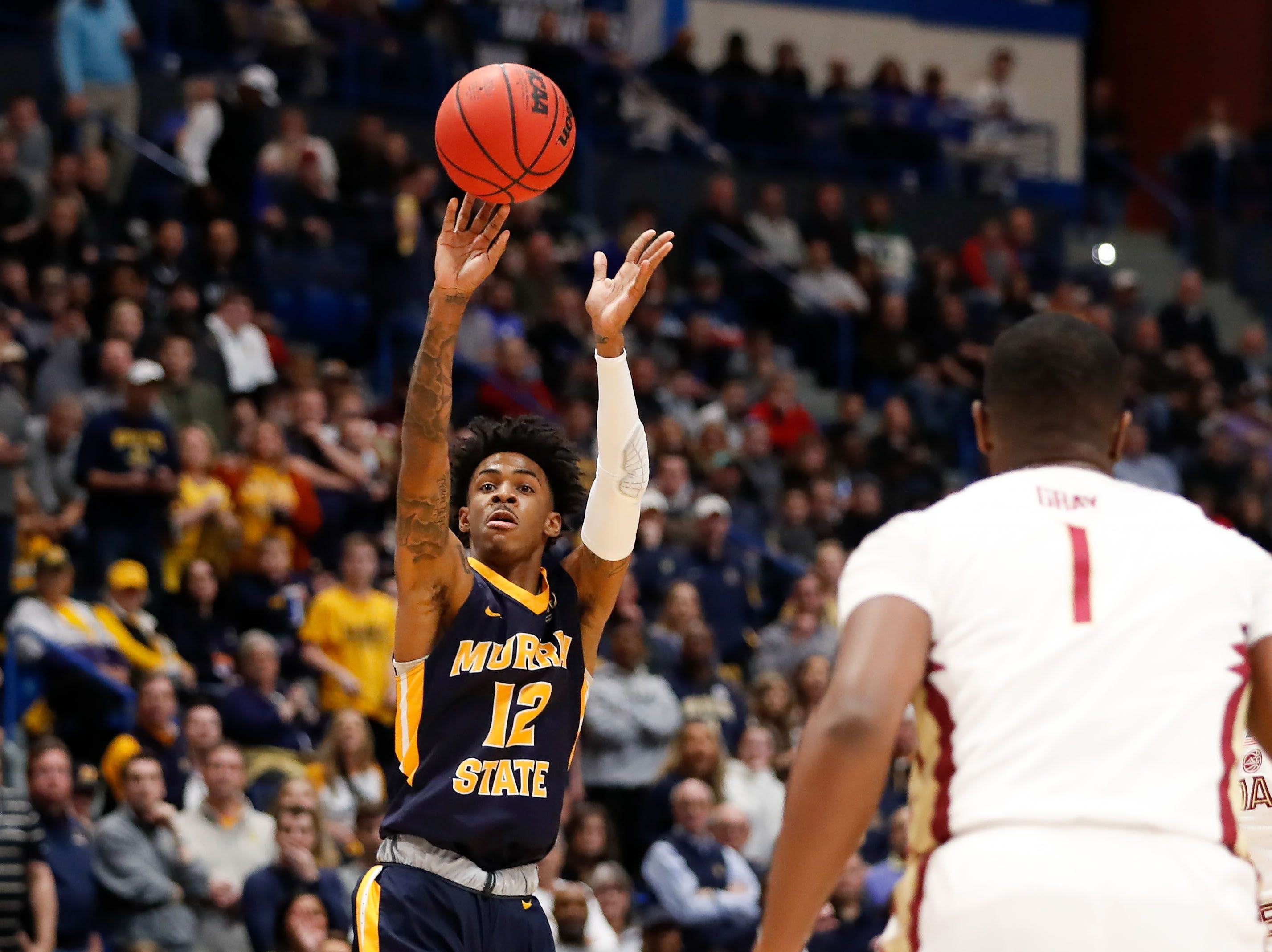 Mar 23, 2019; Hartford, CT, USA; Murray State Racers guard Ja Morant (12) attempts a shot against the Florida State Seminoles during the first half of a game in the second round of the 2019 NCAA Tournament at XL Center. Mandatory Credit: David Butler II-USA TODAY Sports