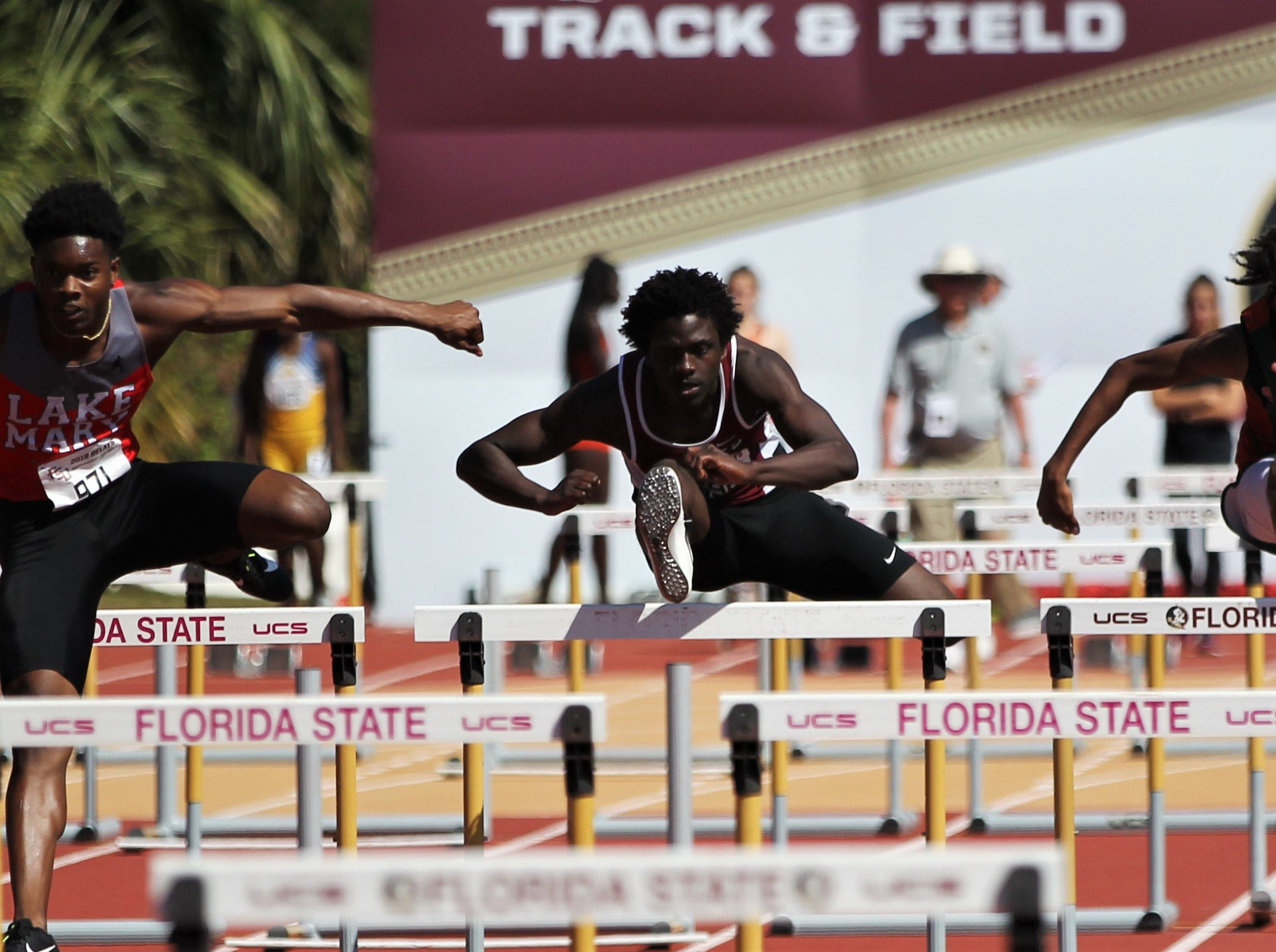 Chiles sophomore Jalen Herring runs the 110-meter high hurdles during the 40th annual FSU Relays at Mike Long Track on Saturday, March 23, 2019.