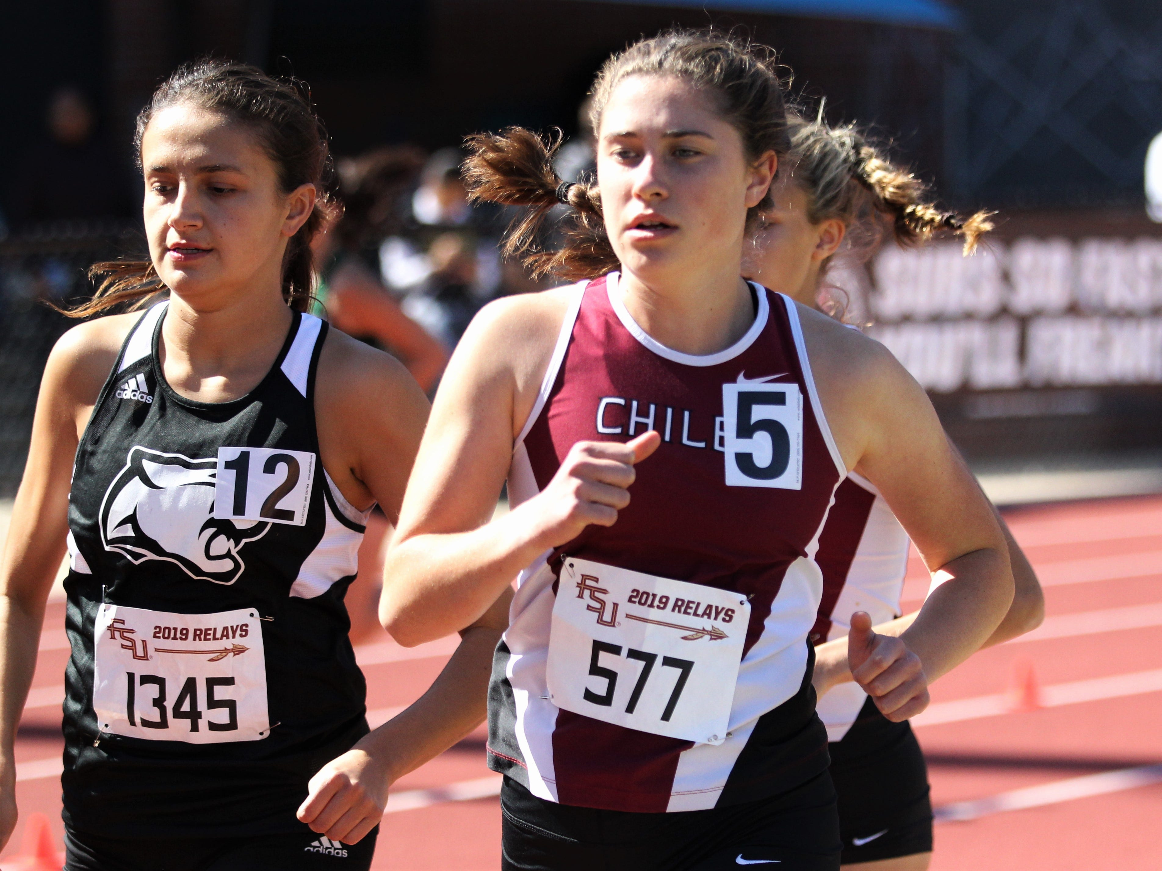 Chiles junior Megan Churchill runs the 1600 during the 40th annual FSU Relays at Mike Long Track on Saturday, March 23, 2019.