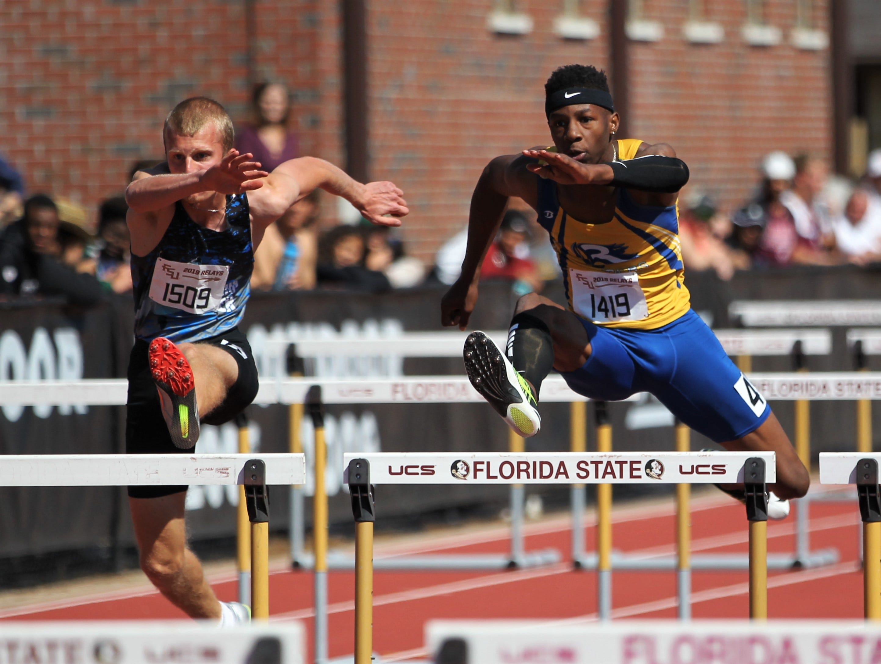 Rickards senior Chris Robinson runs the 110-meter high hurdles during the 40th annual FSU Relays at Mike Long Track on Saturday, March 23, 2019.