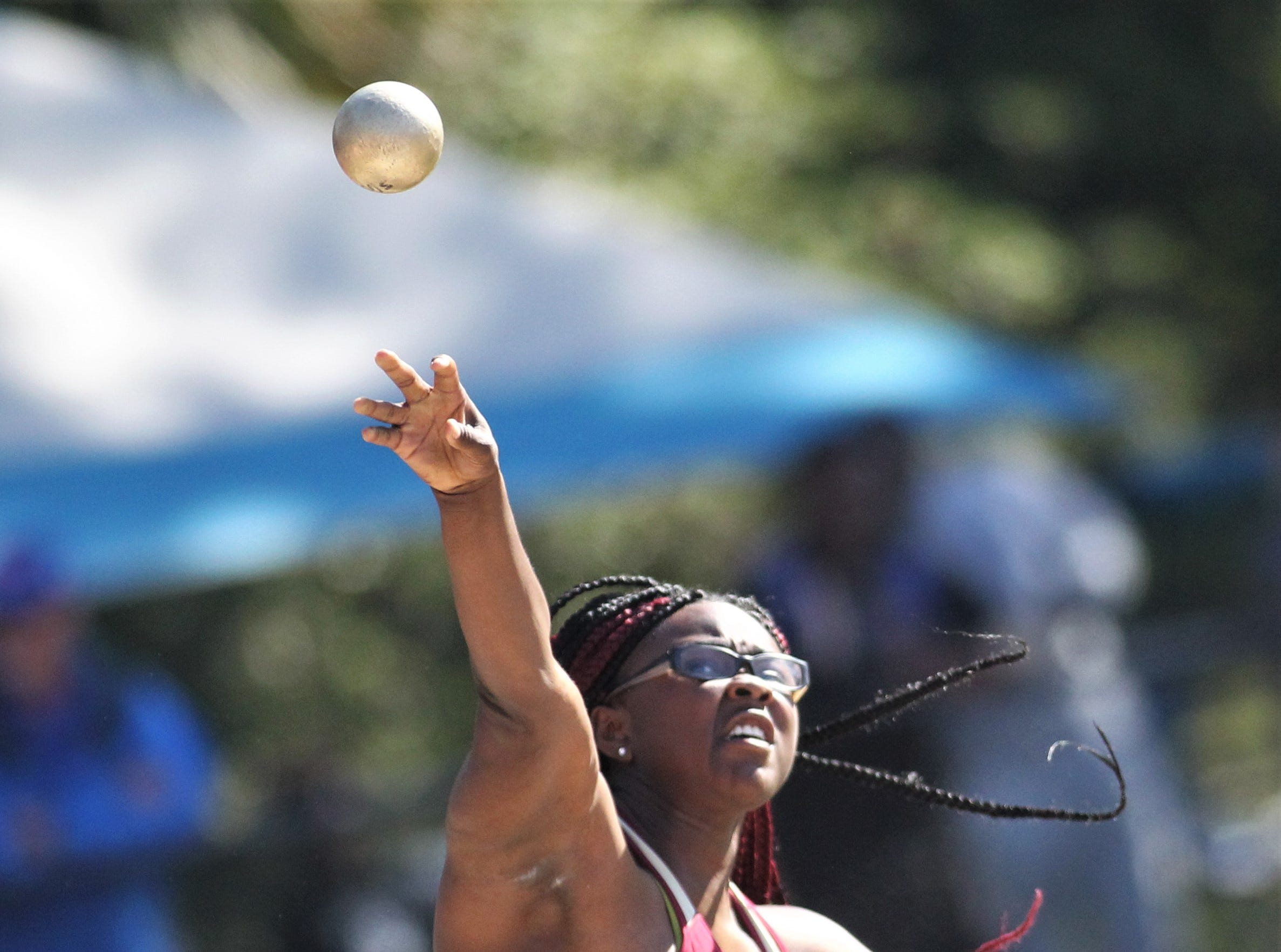 Florida High junior Antonia Thomas throws shot put during the 40th annual FSU Relays at Mike Long Track on Saturday, March 23, 2019.