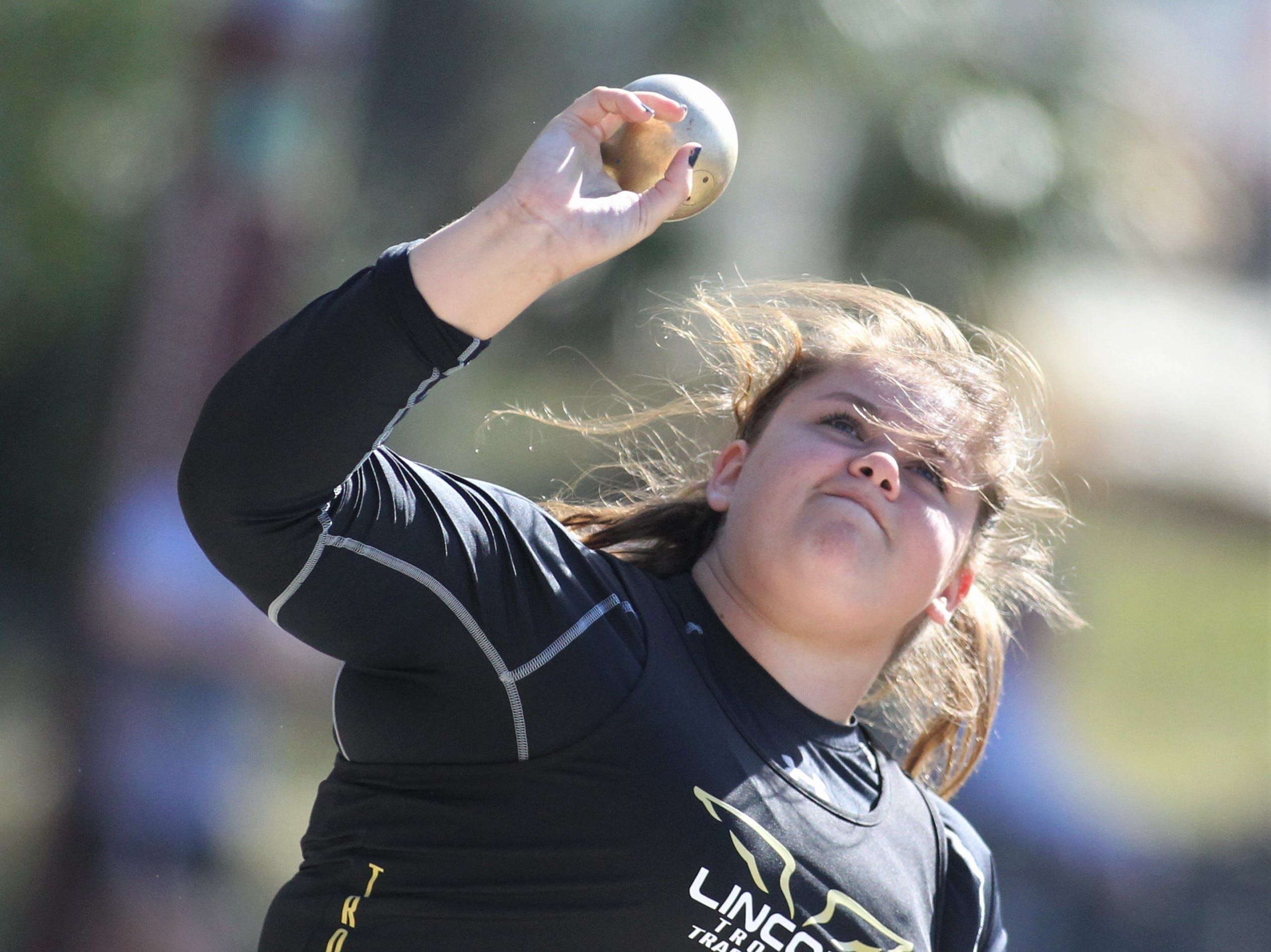 Lincoln junior Macy Kelley throws shot put during the 40th annual FSU Relays at Mike Long Track on Saturday, March 23, 2019.
