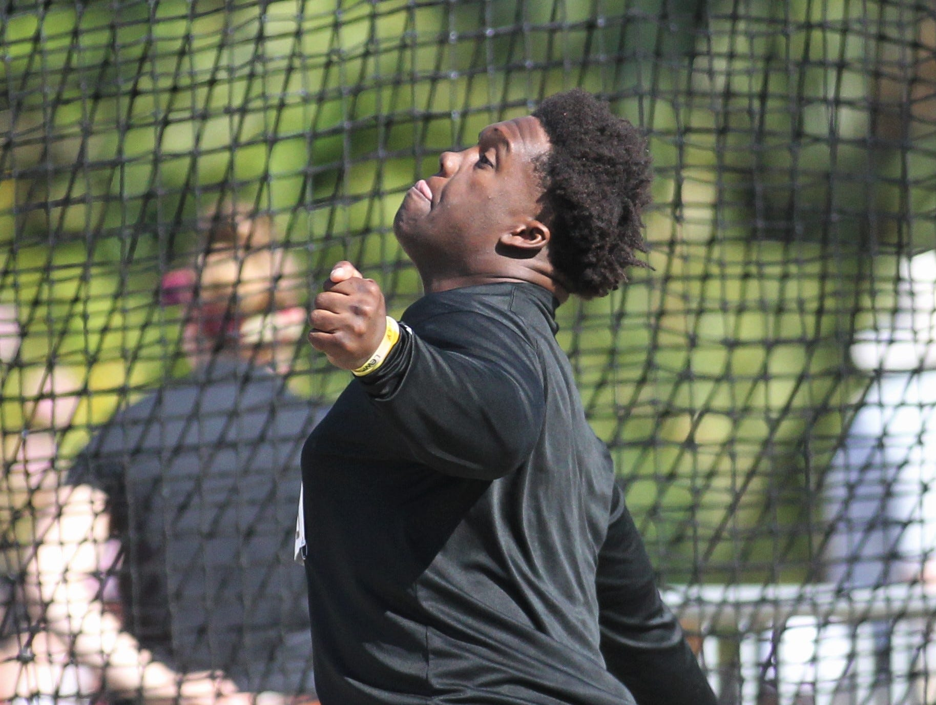 Lincoln's Jourdan Jones throws discus during the 40th annual FSU Relays at Mike Long Track on Saturday, March 23, 2019.
