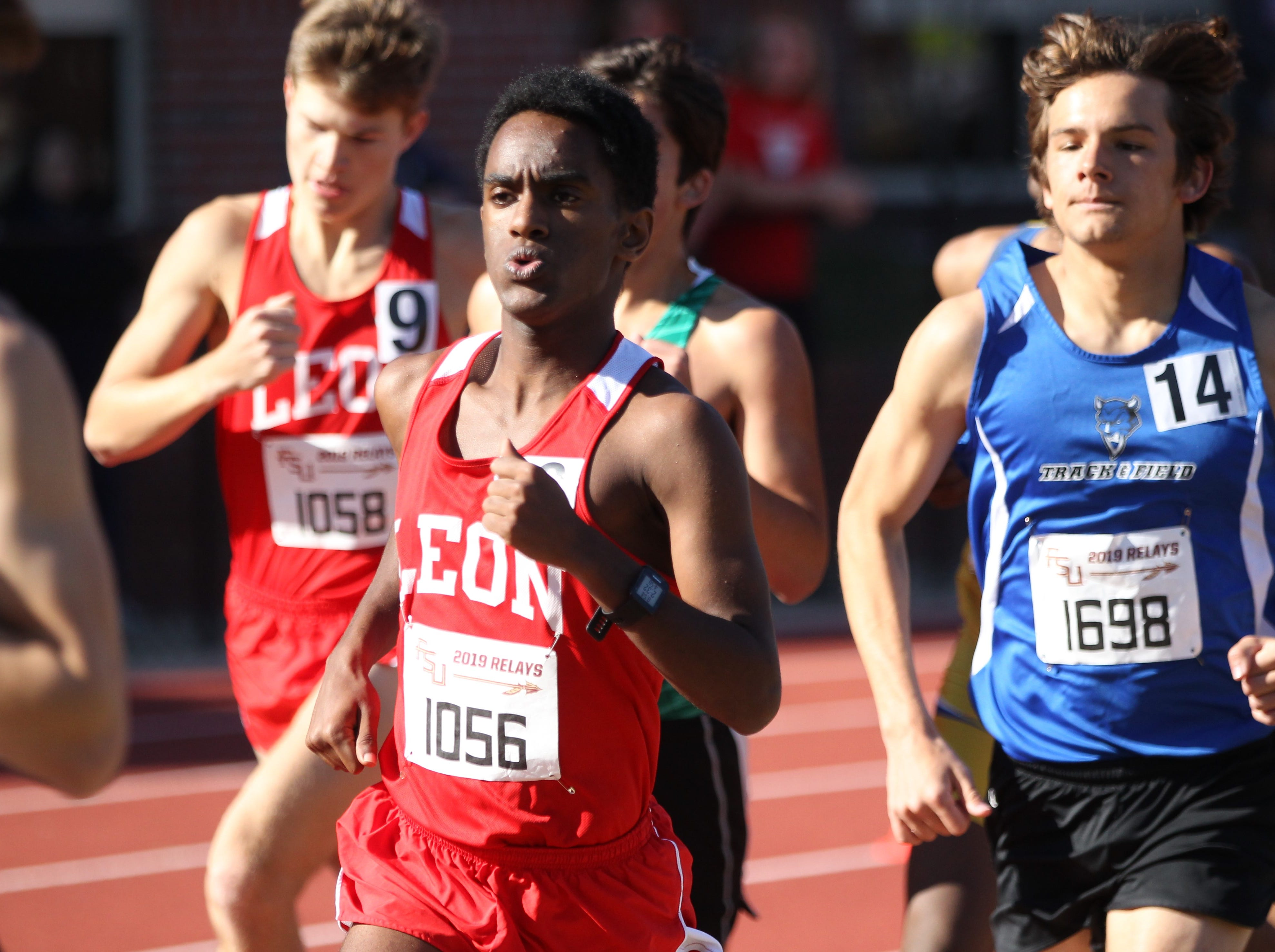 Leon's Joseph Ashebo runs the 1600 during the 40th annual FSU Relays at Mike Long Track on Saturday, March 23, 2019.