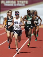 Estero's Hugh Brittenham races to a win in the 800-meter run during the FSU Relays at Mike Long Track on Friday, March 22, 2019.