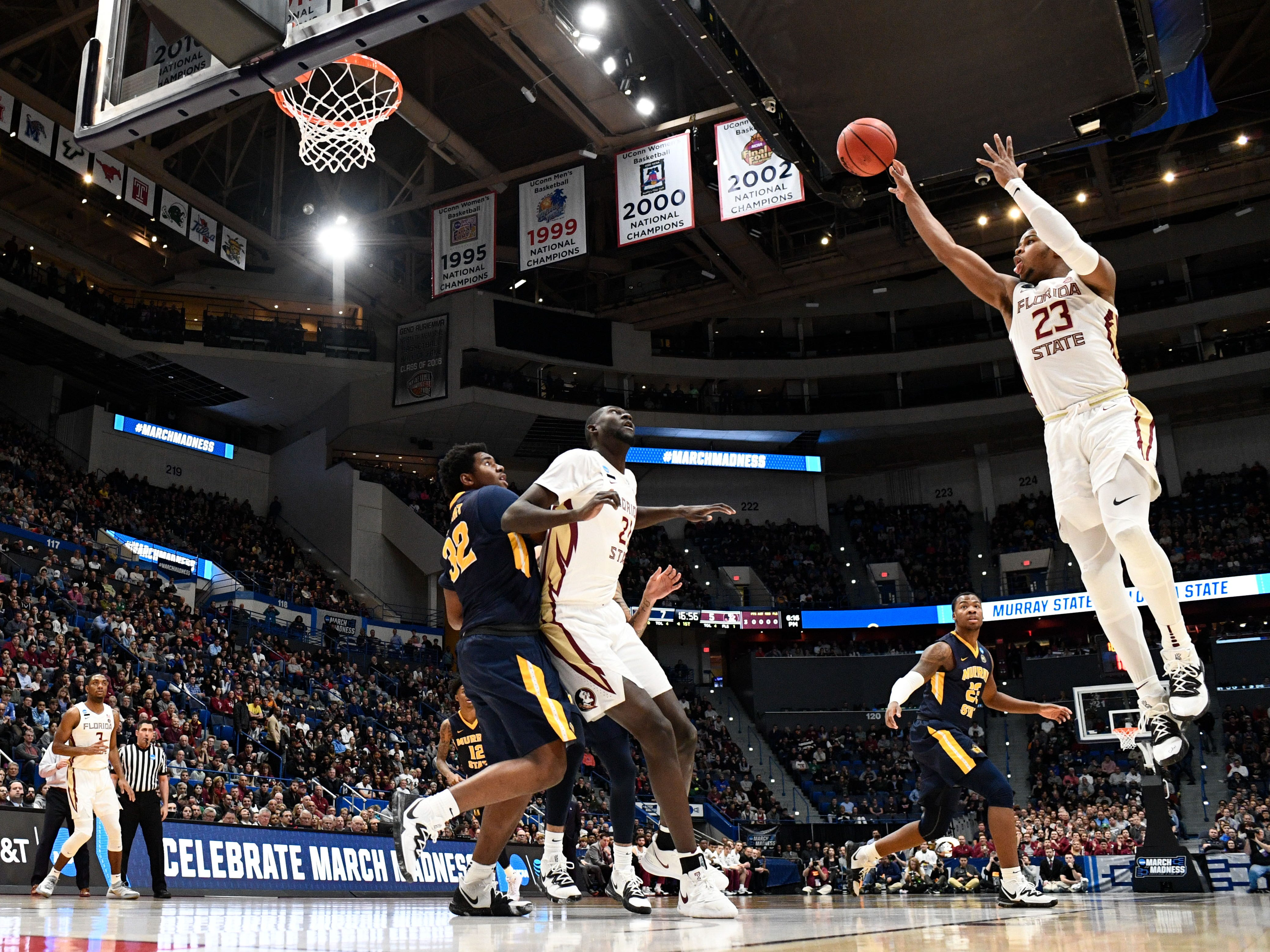 Mar 23, 2019; Hartford, CT, USA; Florida State Seminoles guard M.J. Walker (23) attempts a shot against the Murray State Racers during the first half of a game in the second round of the 2019 NCAA Tournament at XL Center. Mandatory Credit: Robert Deutsch-USA TODAY Sports