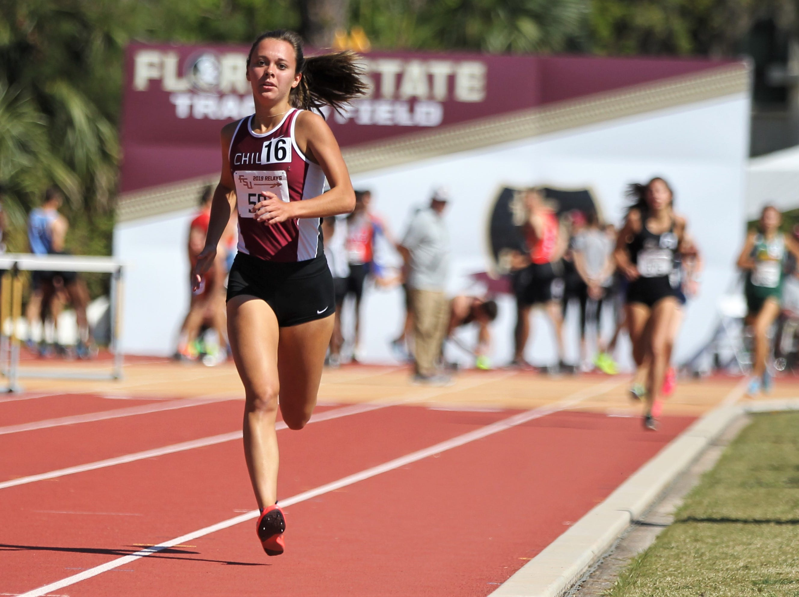 Chiles senior Olivia Miller runs the 1600 during the 40th annual FSU Relays at Mike Long Track on Saturday, March 23, 2019.
