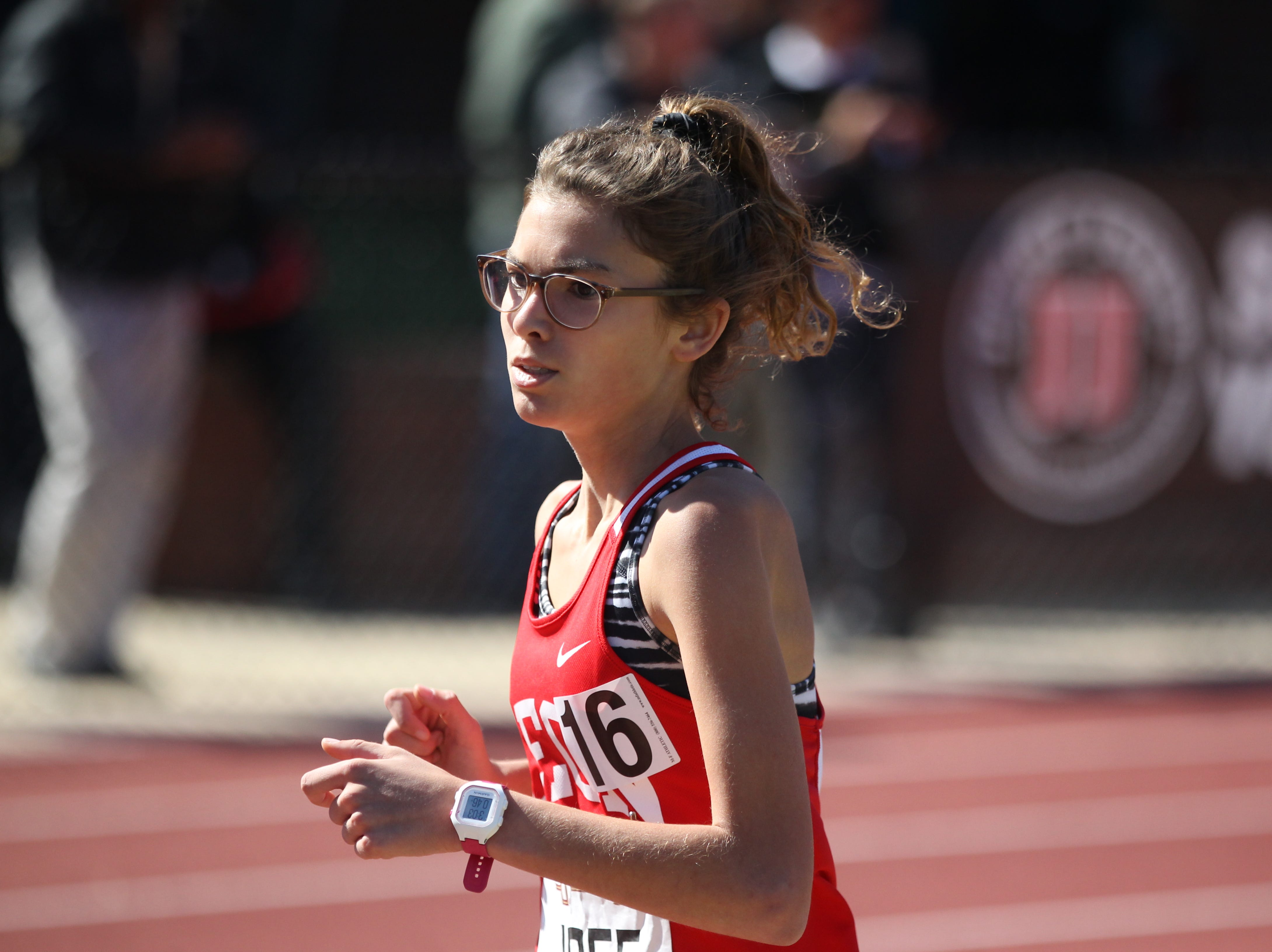 Leon sophomore Lilli Unger runs the 1600 during the 40th annual FSU Relays at Mike Long Track on Saturday, March 23, 2019.