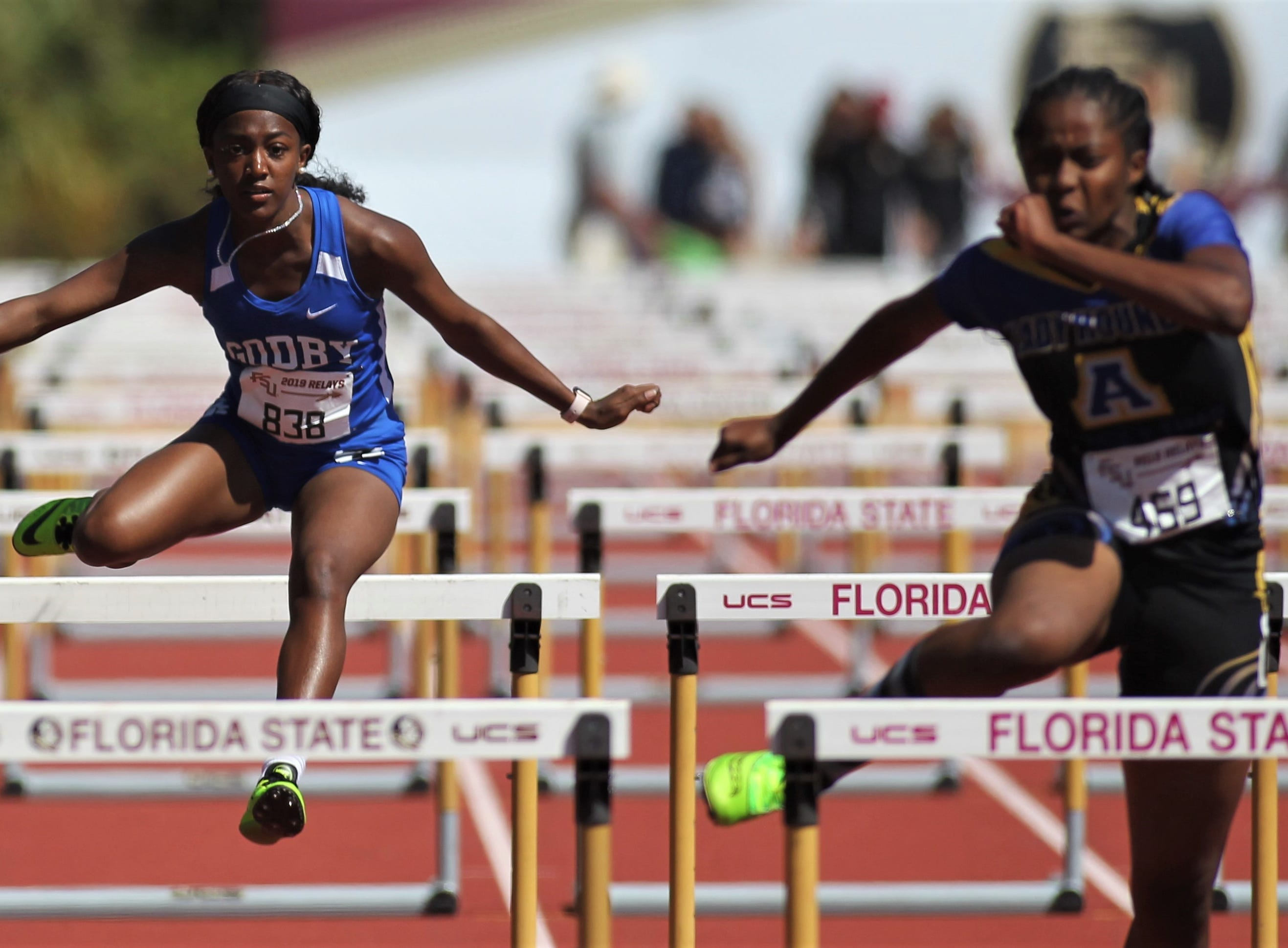 Godby senior Armarni Williams runs the 100-meter hurdles during the 40th annual FSU Relays at Mike Long Track on Saturday, March 23, 2019.
