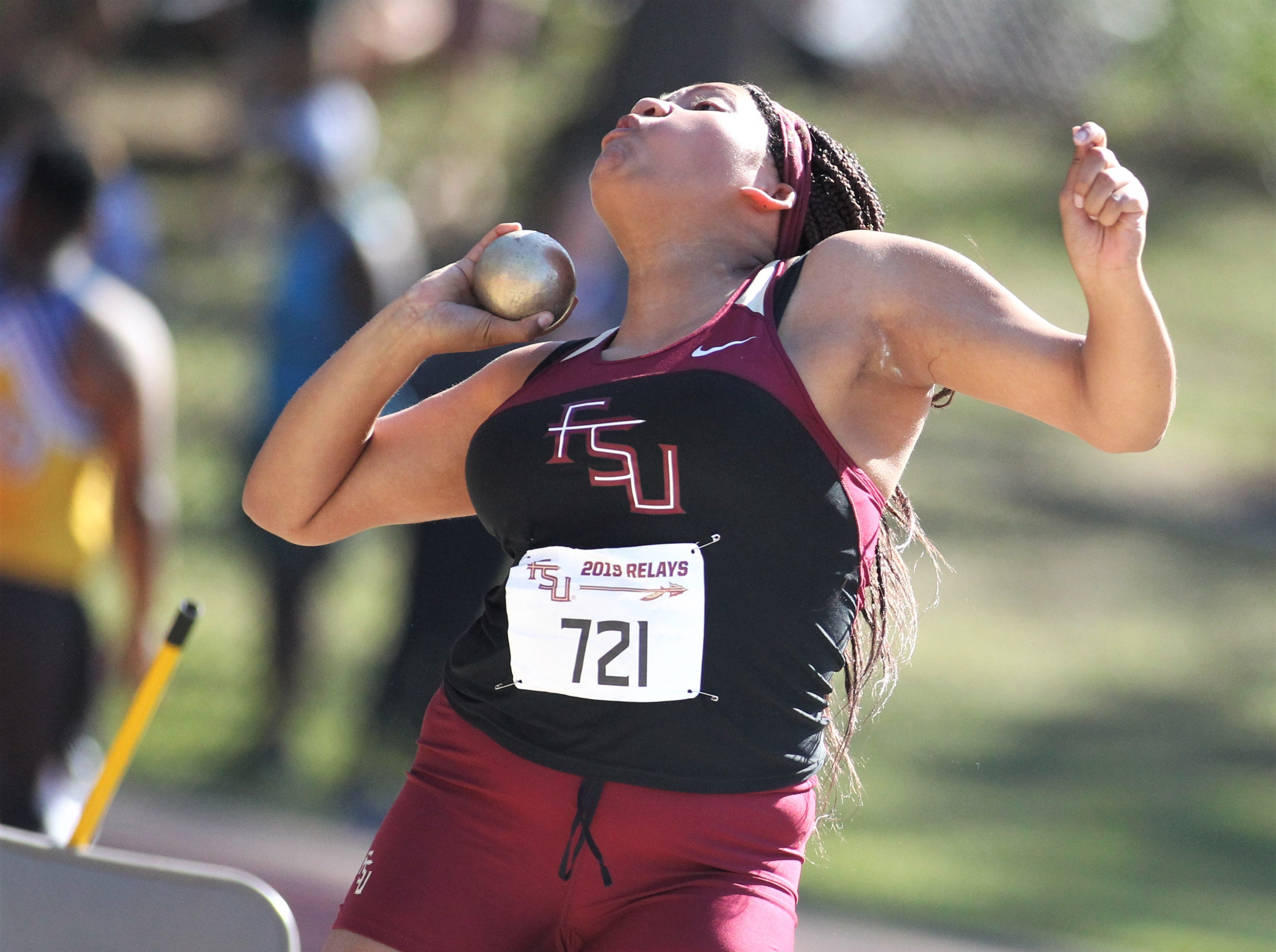 Florida High junior Jhordyn Stallworth throws shot put during the 40th annual FSU Relays at Mike Long Track on Saturday, March 23, 2019.