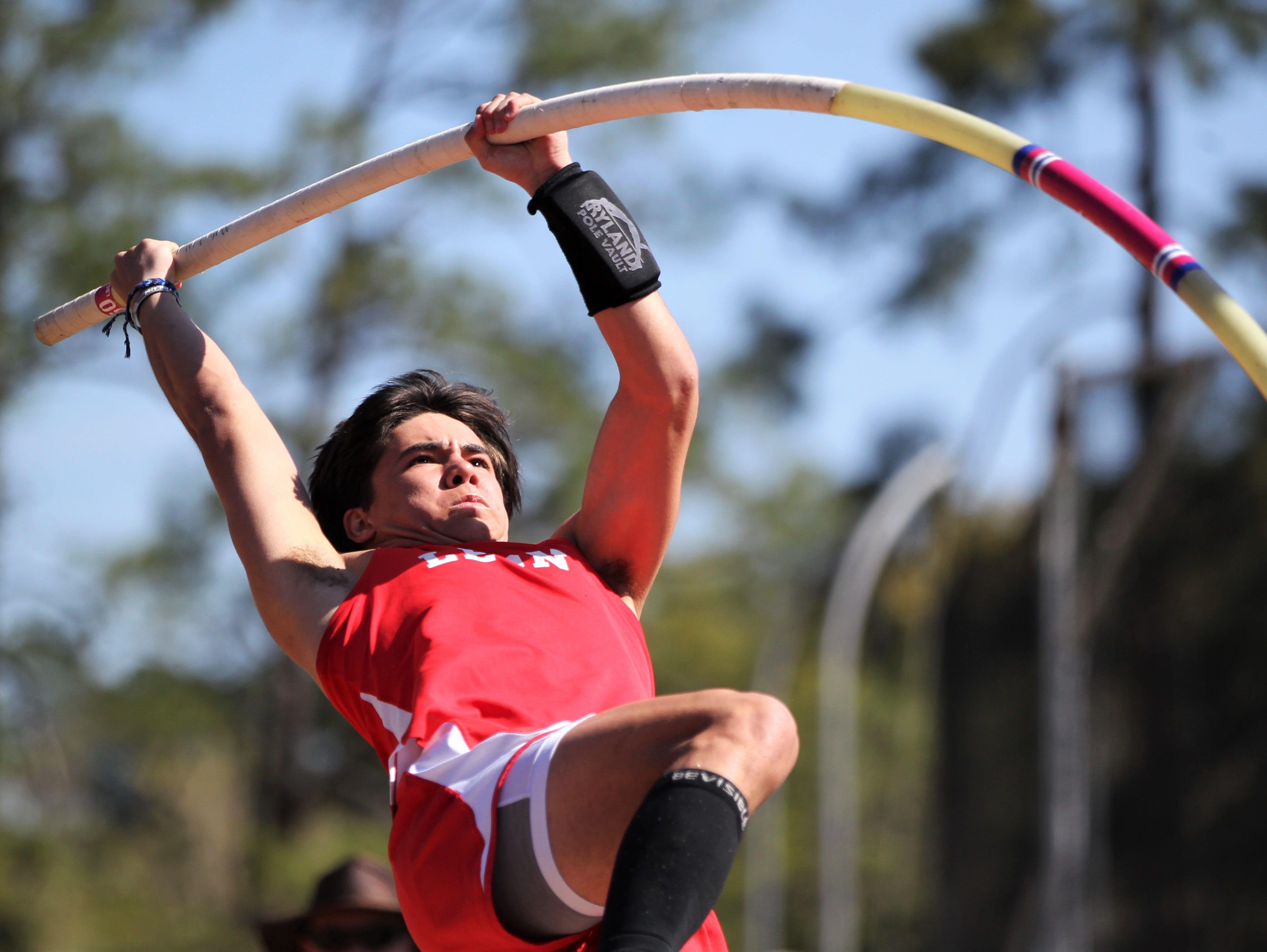 Leon senior Sebastian Campo pole vaults during the 40th annual FSU Relays at Mike Long Track on Saturday, March 23, 2019.
