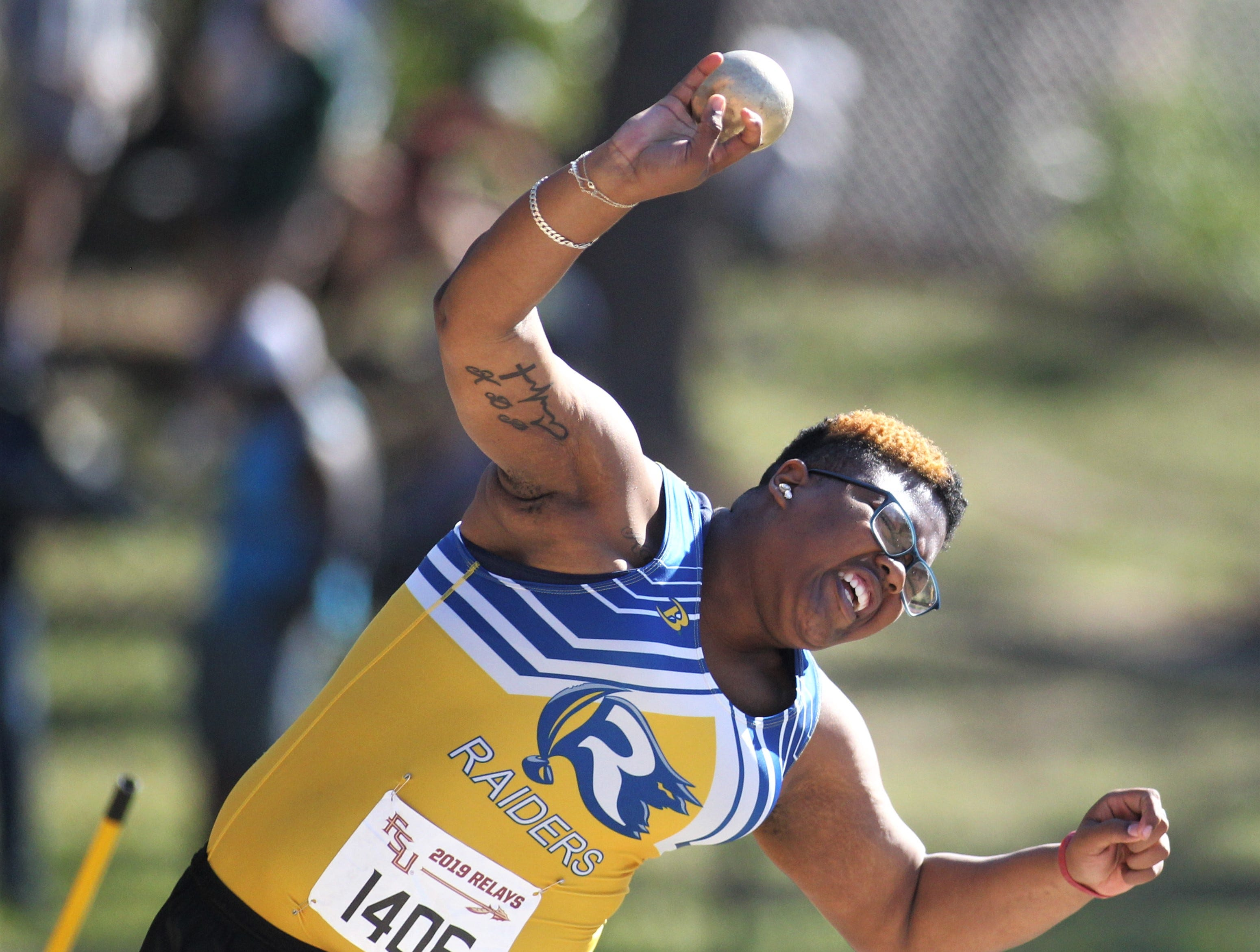 Rickards junior Kantenesha Peters throws shot put during the 40th annual FSU Relays at Mike Long Track on Saturday, March 23, 2019.