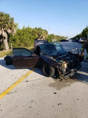 One of the cars involved in a head-on collision in Martin County Saturday morning. One person was hospitalized.