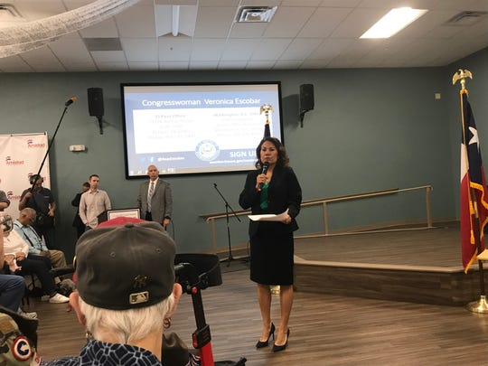 U.S. Rep. Veronica Escobar, D-El Paso, answered questions about gun control and the finalist for University of Texas at El Paso president at a town hall meeting Saturday, March 23, 2019, at Project Amistad, 3210 Dyer St.