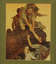 Bob Ludekens who as a young Boy Scout in 1945 at the age of 14, was one of the subjects in a Norman Rockwell painting depicting young scouts climbing a mountain, which published in 1947.