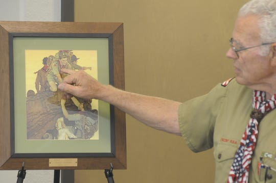 Bob Ludekens who as a young Boy Scout in 1945 at the age of 14, was one of the subjects in a Norman Rockwell painting depicting young scouts climbing a mountain.