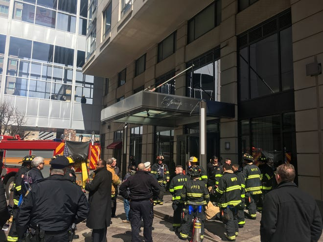 Firefighters put out a fire in ductwork Saturday at a White Plains apartment tower. Five floors were evacuated and one person was taken to a hospital as a precaution for possible smoke inhalation.