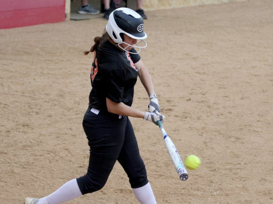 Burkburnett's Kelsea Armstrong hits a single against Graham Friday, March 22, 2019, in Graham.