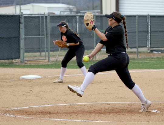Burkburnett's Jocelyn Bright pitches against Graham Friday, March 22, 2019, in Graham.