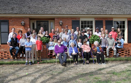 Dorothy Heyduck Denman and Lu Ellen Heyduck Agee have their photos taken with their families at their joint birthday party Saturday, March 23, 2019, in Wichita Falls. Dorothy Denman will be 102 on March 28 and Lu Ellen Agee will be 100 on April 8.