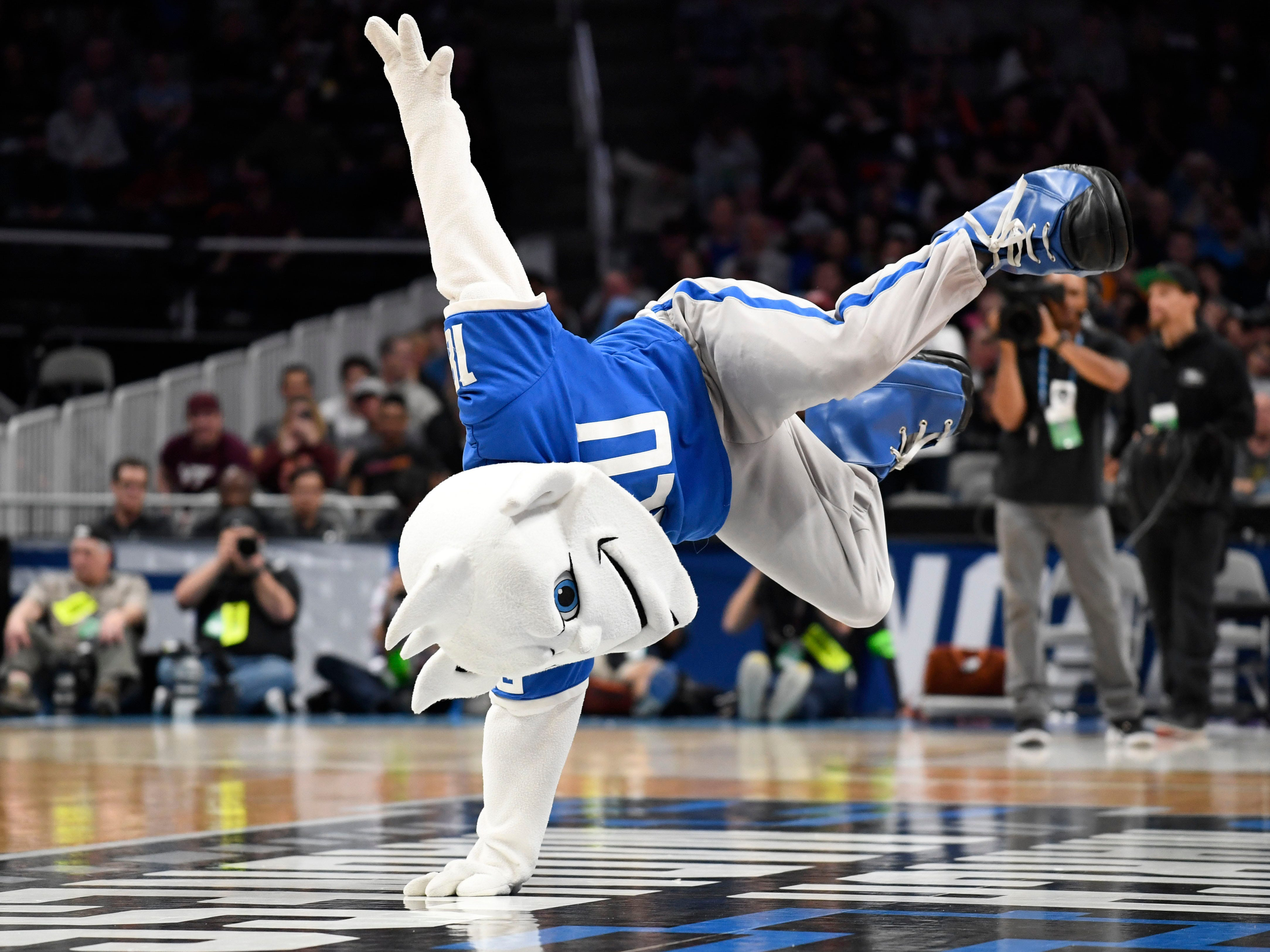 First round: The Saint Louis Billikens mascot performs during the game against the Virginia Tech Hokies.