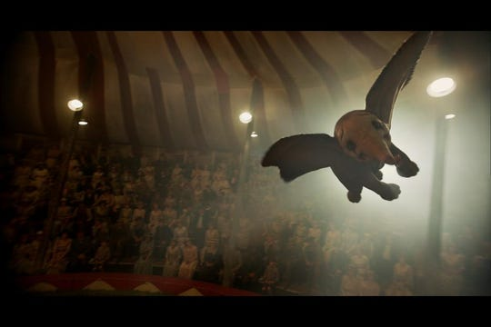 For this scene, Dumbo was represented on the set by a small, swiftly moving red dot from a laser pointer. The flying elephant was added later.