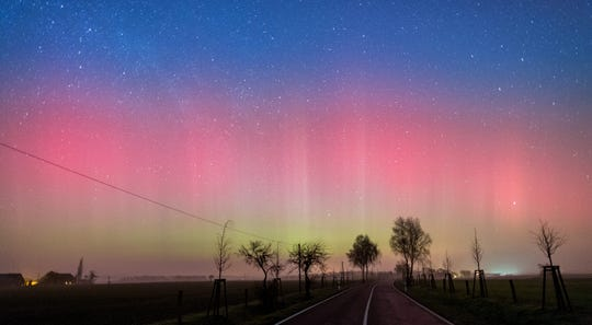 A long-time exposure of about 10 seconds shows a northern light (aurora borealis) in the sky near Lietzen, Germany, in this 2016 file photo.