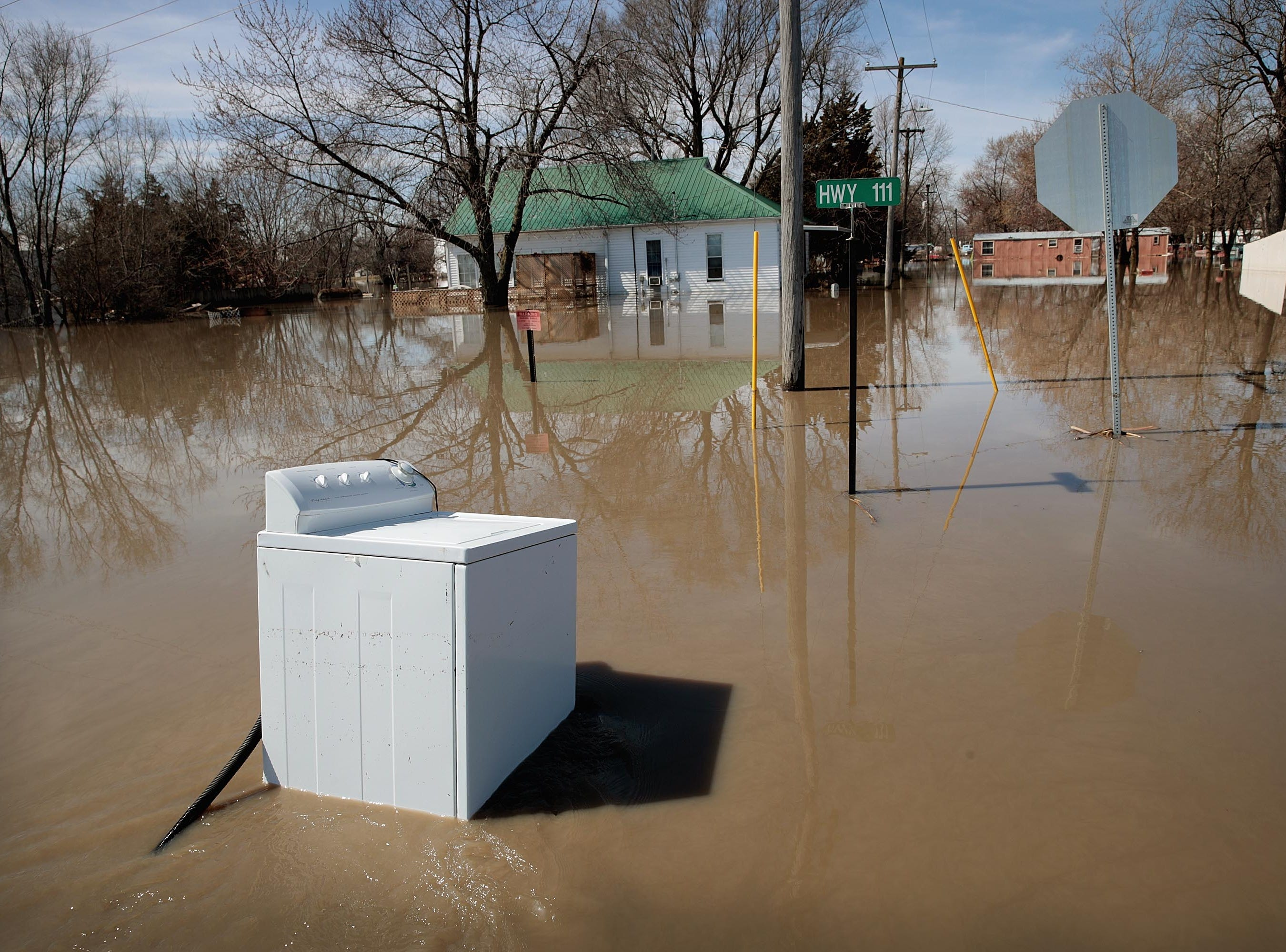Floodwater covers the towns streets on March 22, 2019 in Craig, Mo.