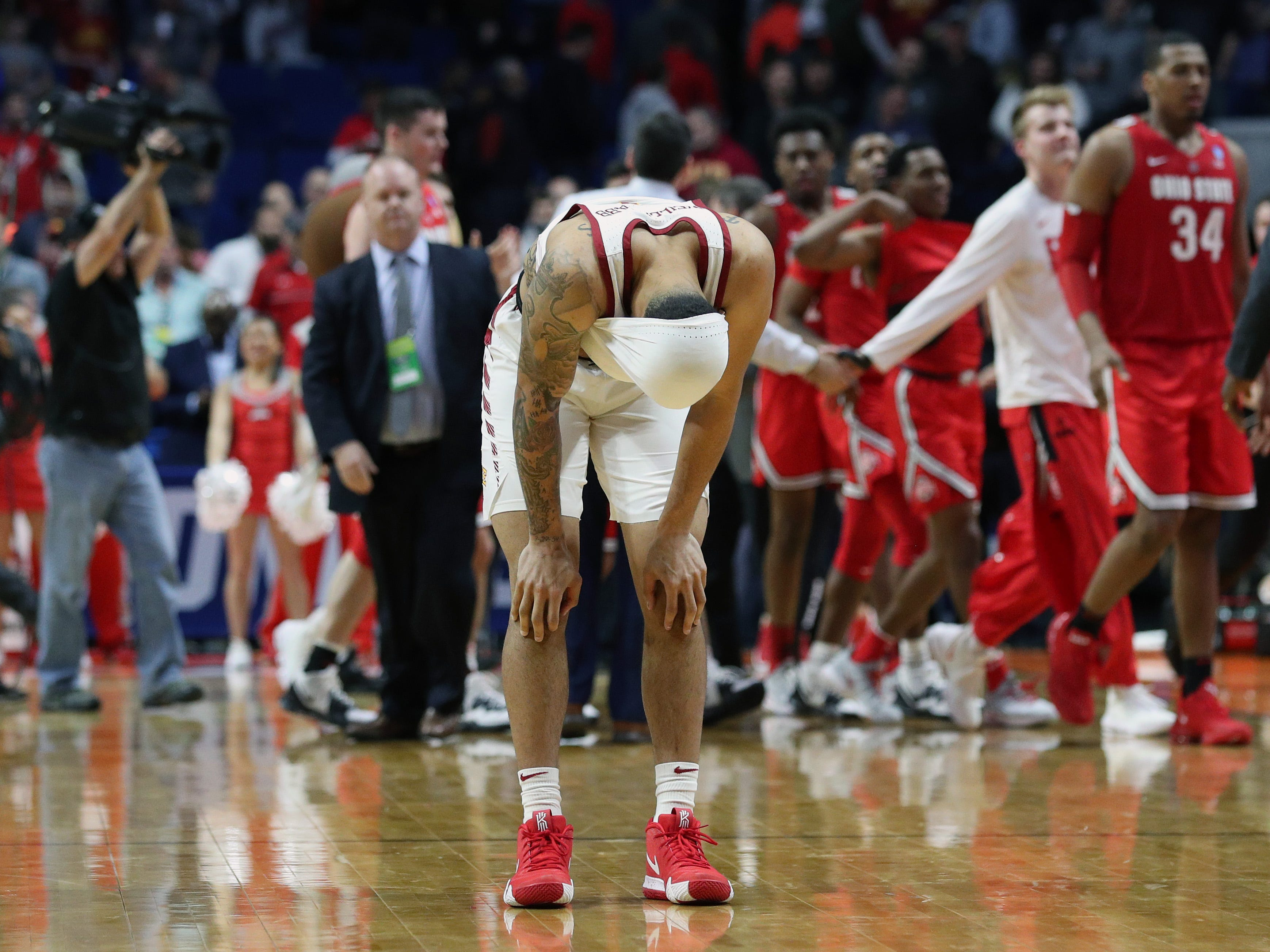 First round: No. 6 Iowa State loses to No. 11 Ohio State, 62-59.