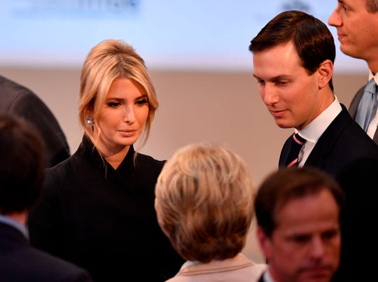White House adviser Ivanka Trump and senior adviser Jared Kushner talk to von German Defence Minister Ursula von der Leyen in Munich on Feb. 16, 2019.