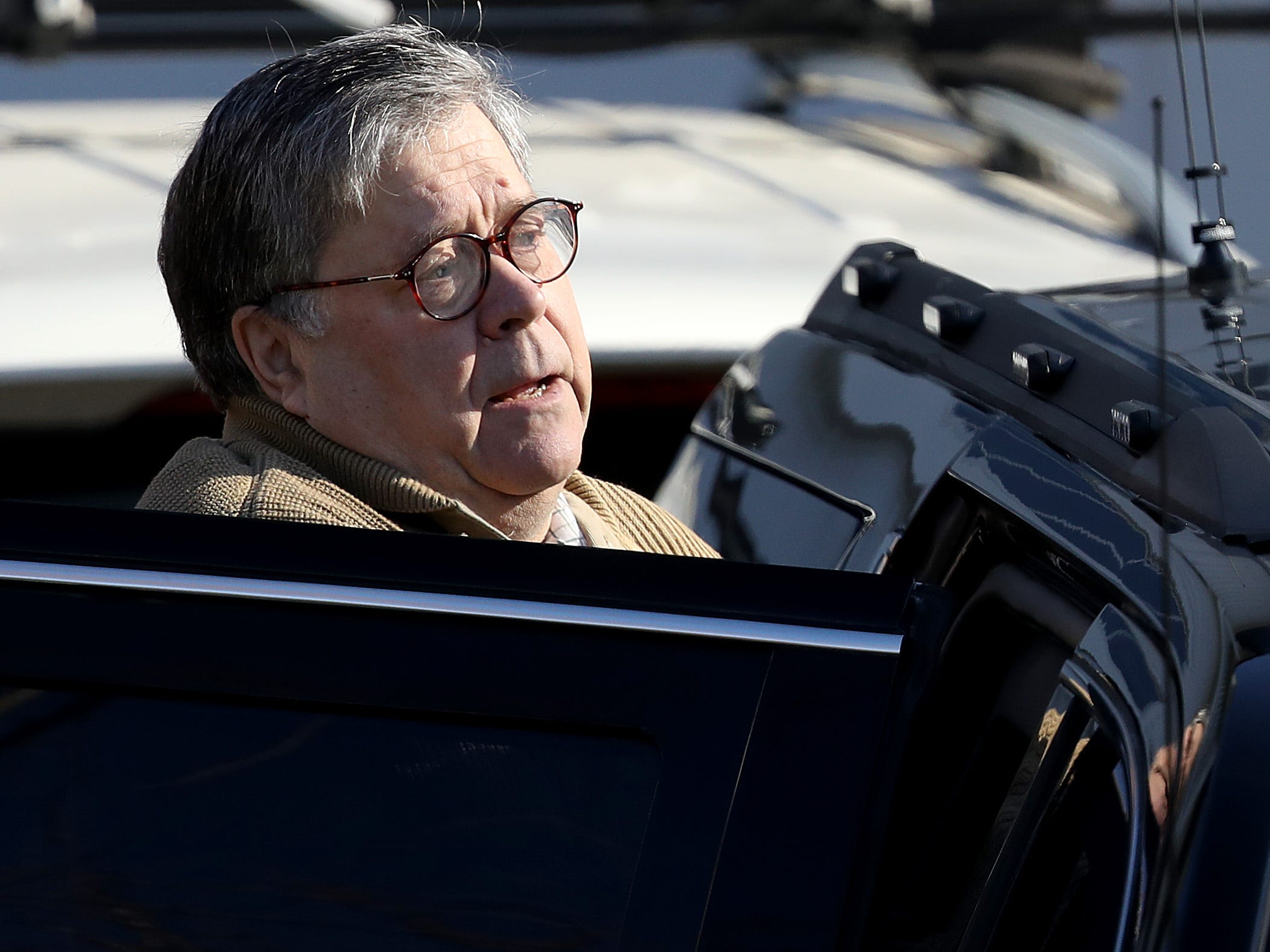 U.S. Attorney General William Barr departs his home March 23, 2019 in McLean, Virginia.  Special Counsel Robert Mueller delivered the report from his investigation into Russian interference in the 2016 presidential election to Barr yesterday and Barr is expected to brief members of Congress on the report this weekend.
