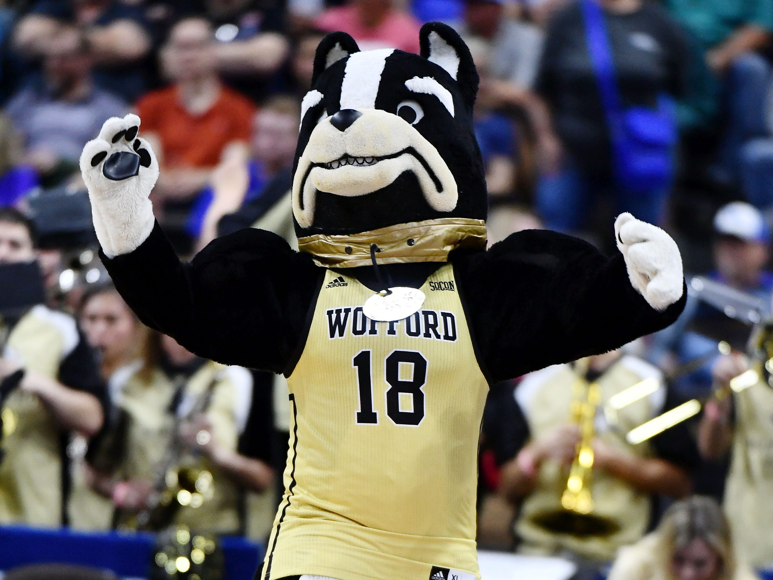 Round of 32: The Wofford Terriers mascot before the game against the Kentucky Wildcats.