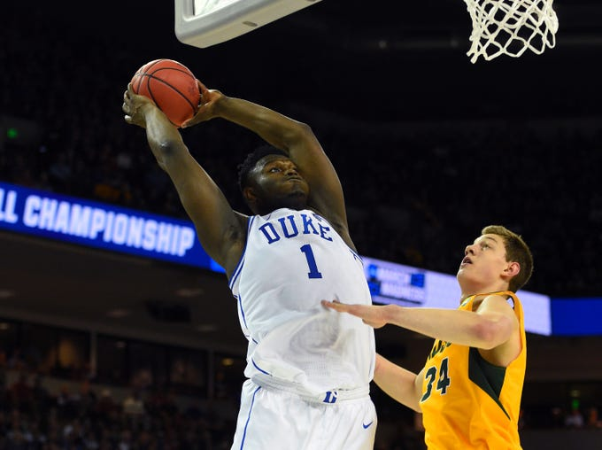 First round: Duke Blue Devils forward Zion Williamson dunks the ball against the North Dakota State Bison.