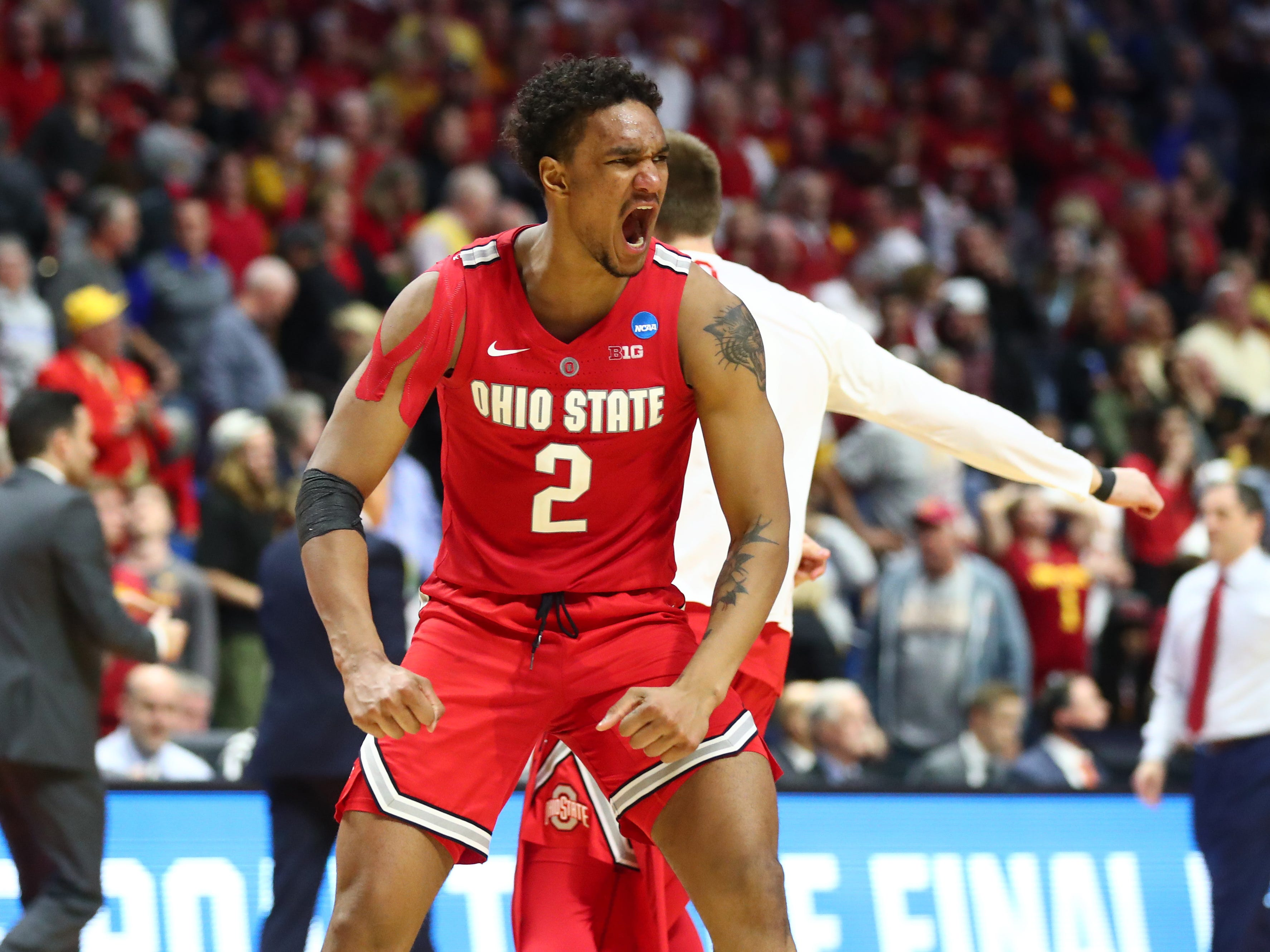 First round: Ohio State Buckeyes guard Musa Jallow celebrates during his team's win over the Iowa State Cyclones.