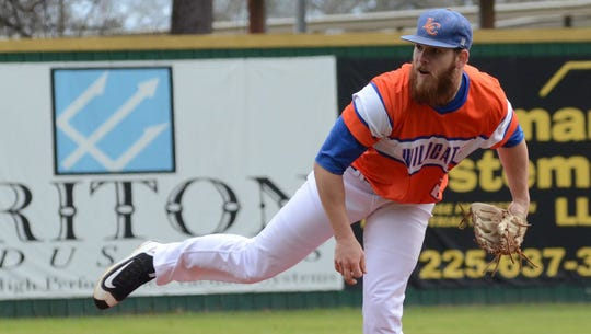"""Louisiana College pitcher Deauton Delgado tossed a no-hitter against Concordia on March 23. The Wildcats host Centenary College on Cox Sports Wednesday for its """"Cats Crush Cancer"""" game."""