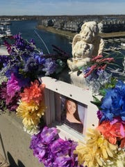 Sarah Stern's memorial on the Route 35 Southbound bridge over the Shark River was decorated to mark her 22nd birthday Sunday, March 24, 2019.  Liam McAtasney and Preston Taylor will face sentencing in May for her murder and throwing her off the bridge into the river at this spot.
