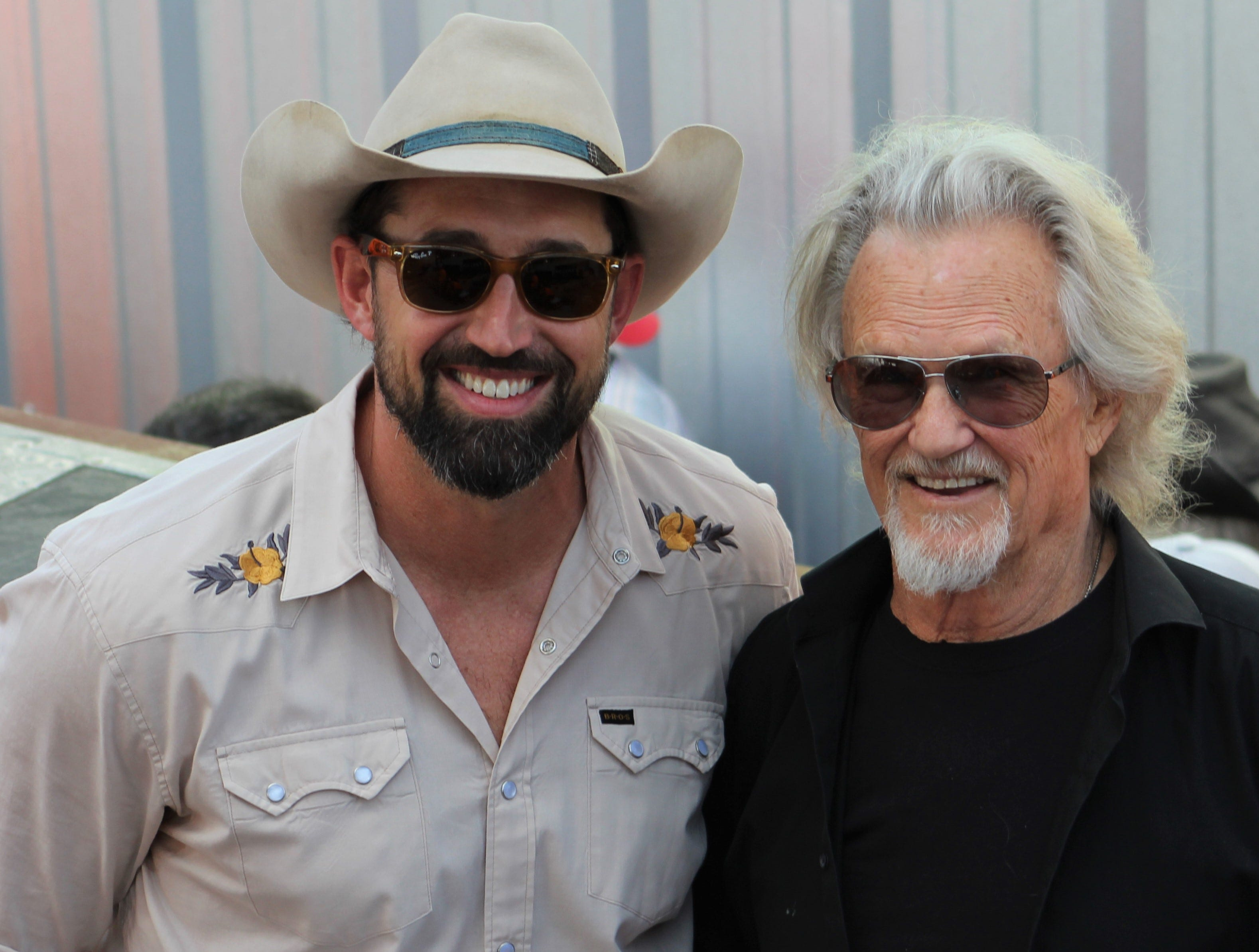 Outlaws & Legends Music Festival organizer and performer Mark Powell, left, with Saturday evening headliner Kris Kristofferson at the Back Porch of Texas stage.