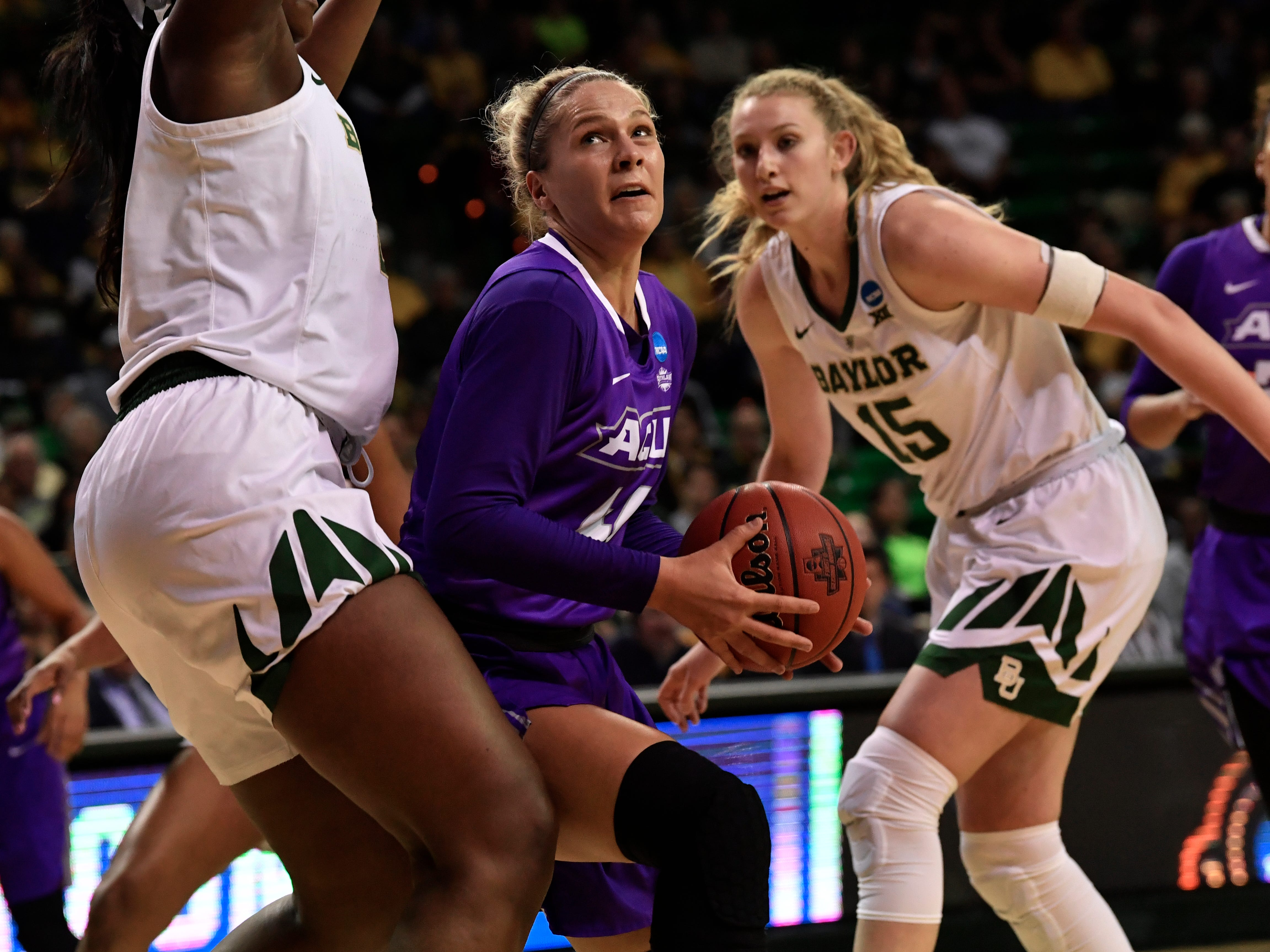 ACU forward Lexie Ducat looks for an opening at the basket during Saturday's NCAA Tournament women's round 1 basketball game March 23, 2019. Baylor defeated Abilene Christian University, 95-38.