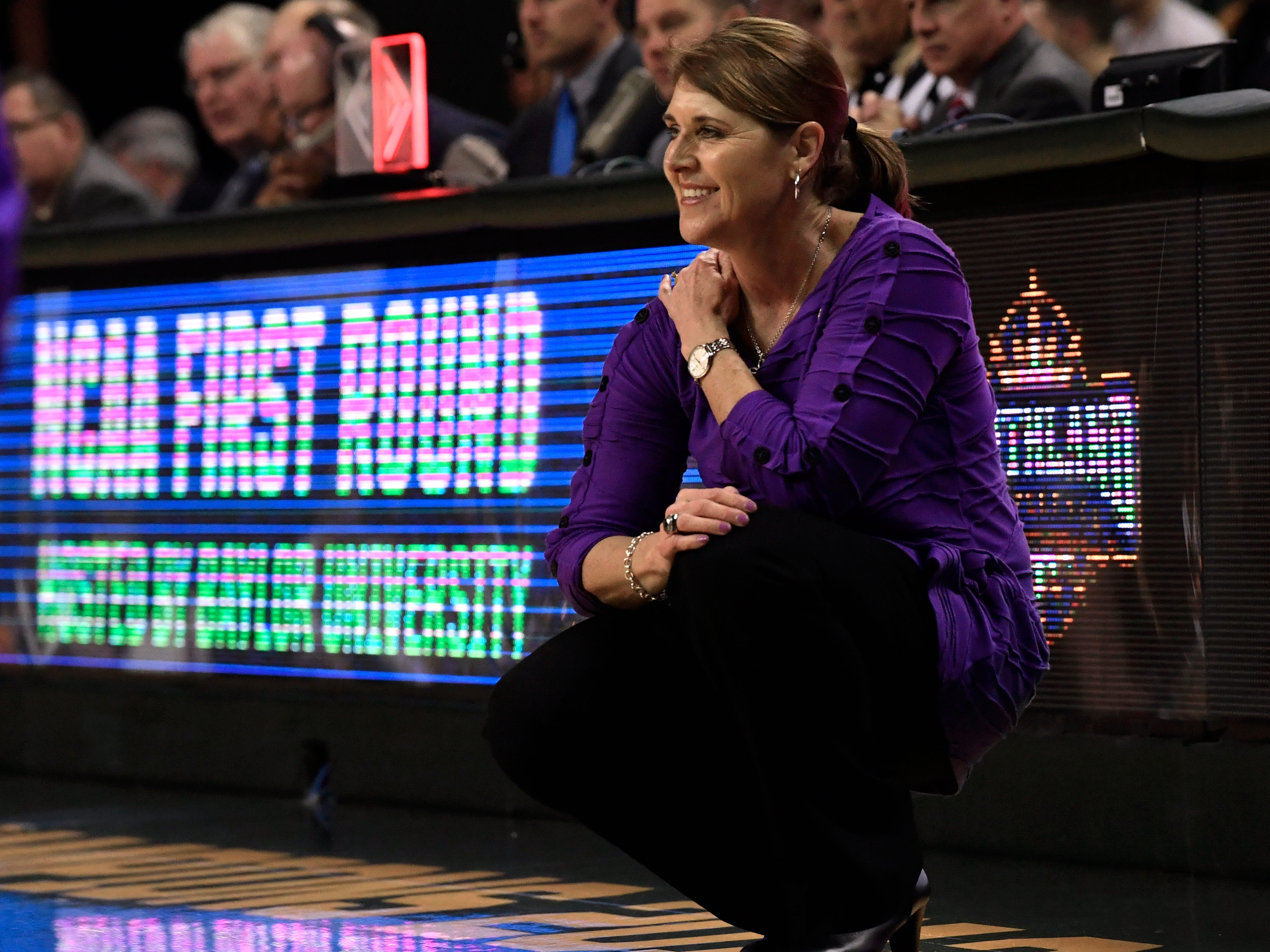 ACU head women's basketball coach Julie Goodenough watches her team play against Baylor during Saturday's NCAA Tournament women's round 1 basketball game March 23, 2019. Baylor defeated Abilene Christian University, 95-38.
