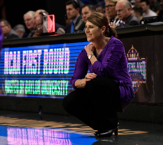 ACU coach Julie Goodenough watches her team play against Baylor during the first round of the NCAA Tournament March 23 in Waco. Baylor won the game 95-38.