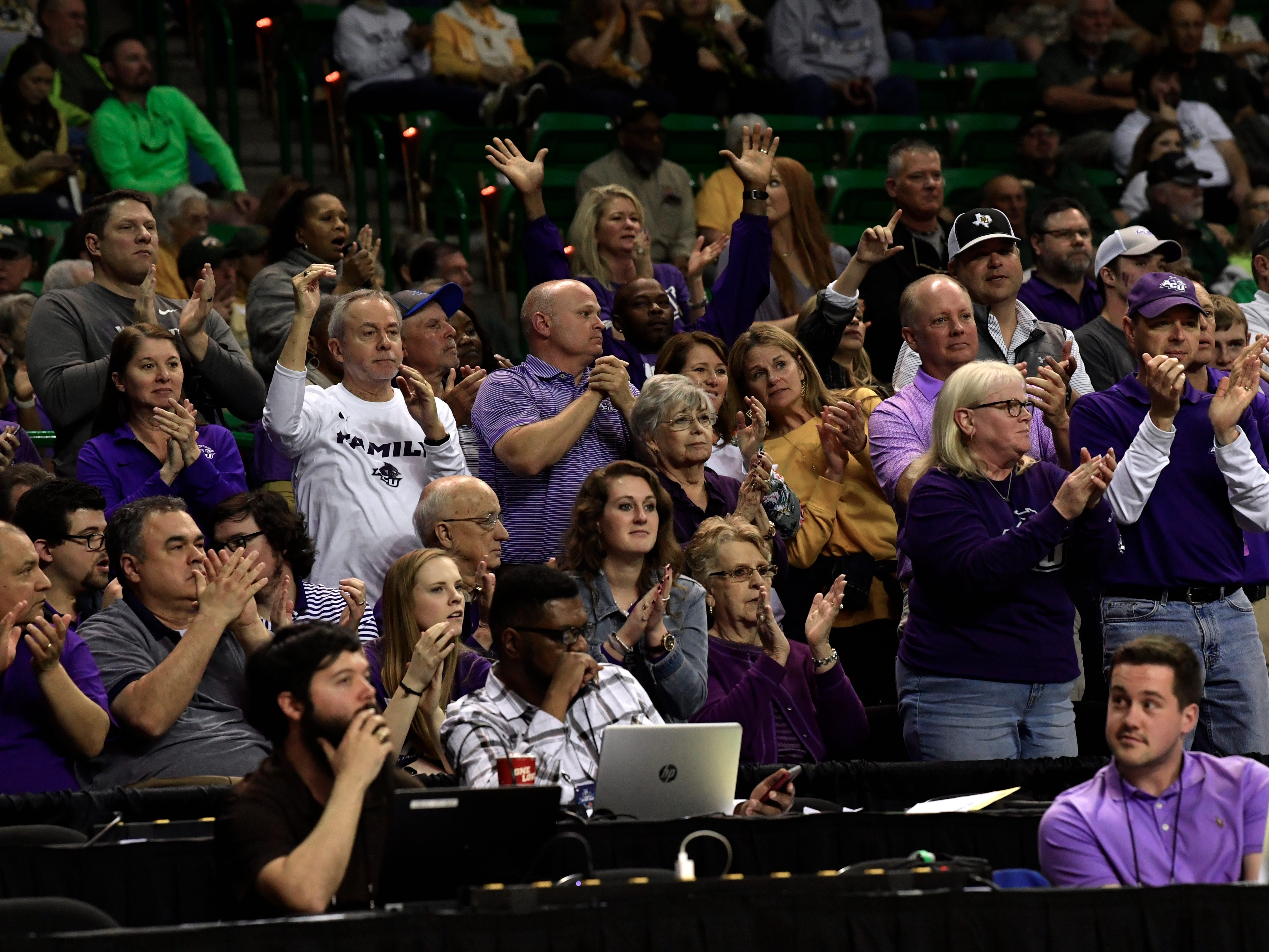 Abilene Christian University fans cheer the Lady Wildcats during Saturday's NCAA Tournament women's round 1 basketball game March 23, 2019. Baylor defeated Abilene Christian University, 95-38.