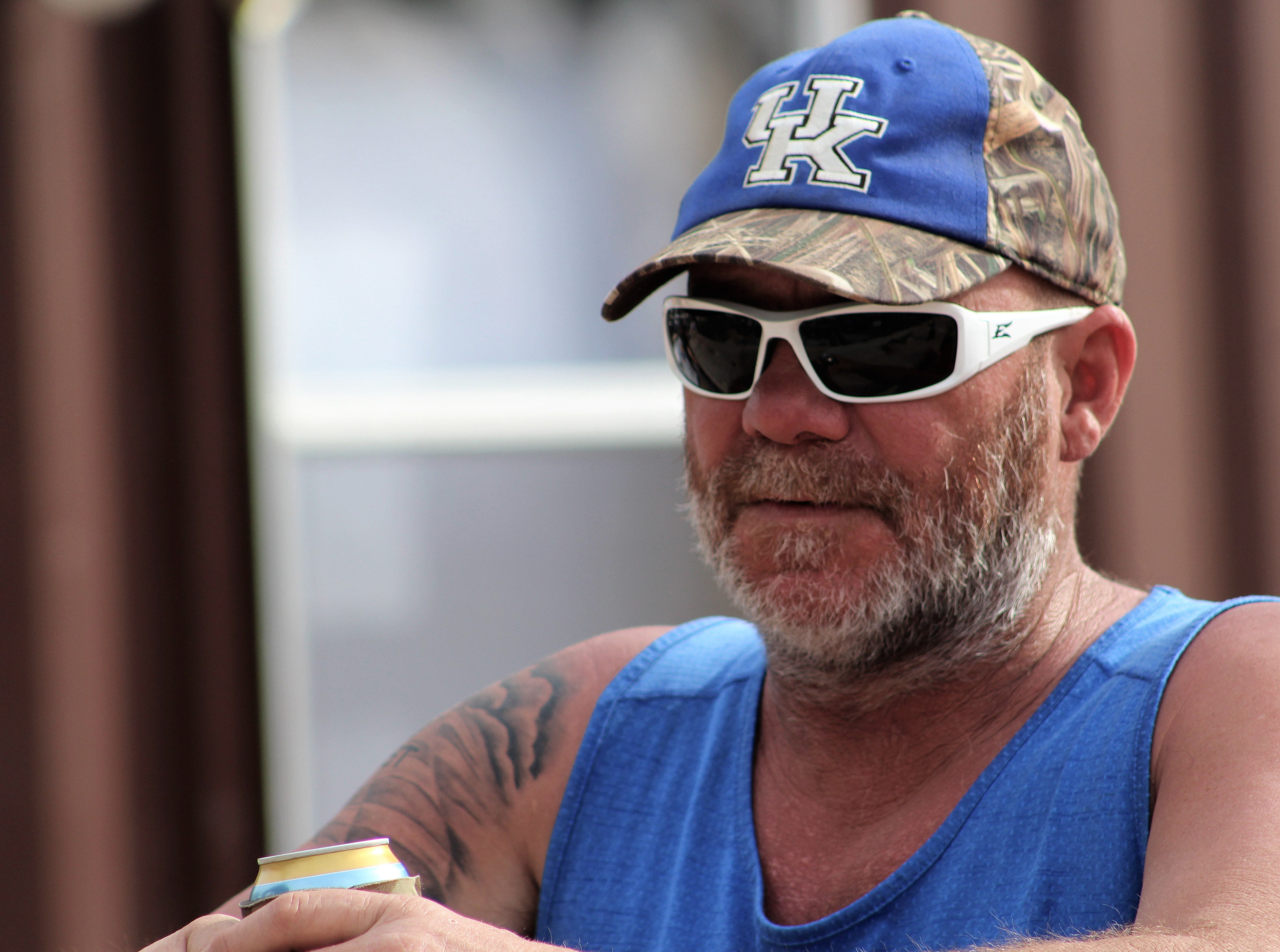 This guy was a fish out of water Saturday afternoon March 23, 2019, at the 9th Outlaws & Legends Music Festival. A Kentucky fan, he said he got ribbed because his Wildcats beat Abilene Christian's Wildcats in the NCAA Tournament.