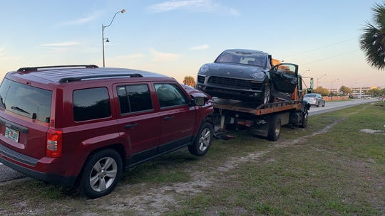 A two-car crash stalled traffic on U.S. 1 in Palm Bay