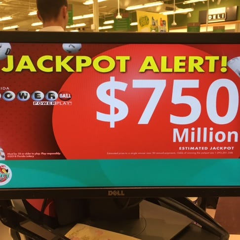 Powerball jackpot for Wednesday's drawing at $750M