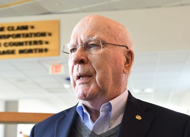Sen. Patrick Leahy, D-Vt., answers reporters questions on Sunday, March 24, 2019, at the Burlington International Airport in South Burlington about the release of Special Counsel Robert Mueller's report on Russian election interference.