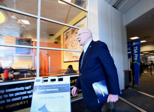 Sen. Patrick Leahy, D-Vt., on Sunday, March 24, 2019, at the Burlington International Airport in South Burlington arriving to speak to reporters about the release of Special Counsel Robert Mueller's report on Russian election interference.