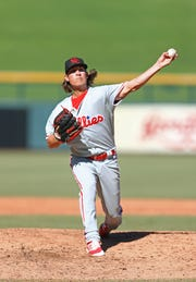 Phillies prospect Jeff Singer pitches during the Arizona Fall League in 2016. Singer hopes he'll reach the big leagues this season.