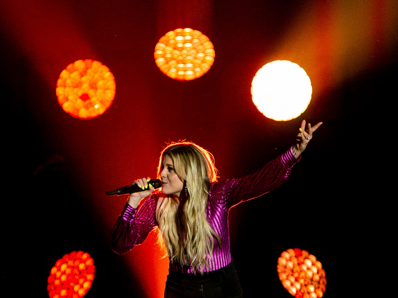 """Kelsea Ballerini performs Saturday, March 23, 2019 as part of Kelly Clarkson's """"Meaning of Life"""" tour at US Bank Arena in Cincinnati."""