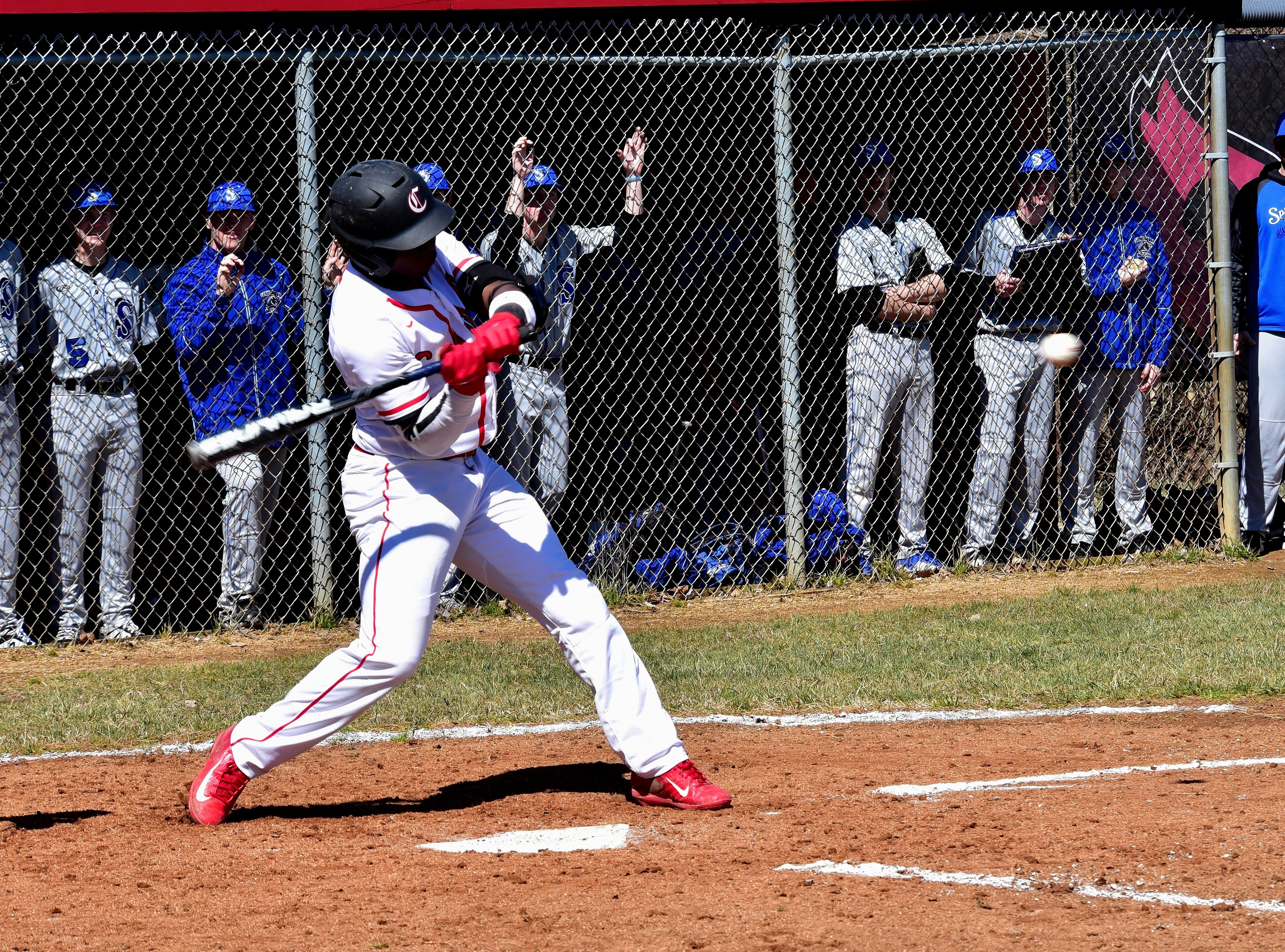 Colerain's DeAnte Smith-Moore eyes his first RBI of the season on opening day at Colerain High School, March 23, 2019.
