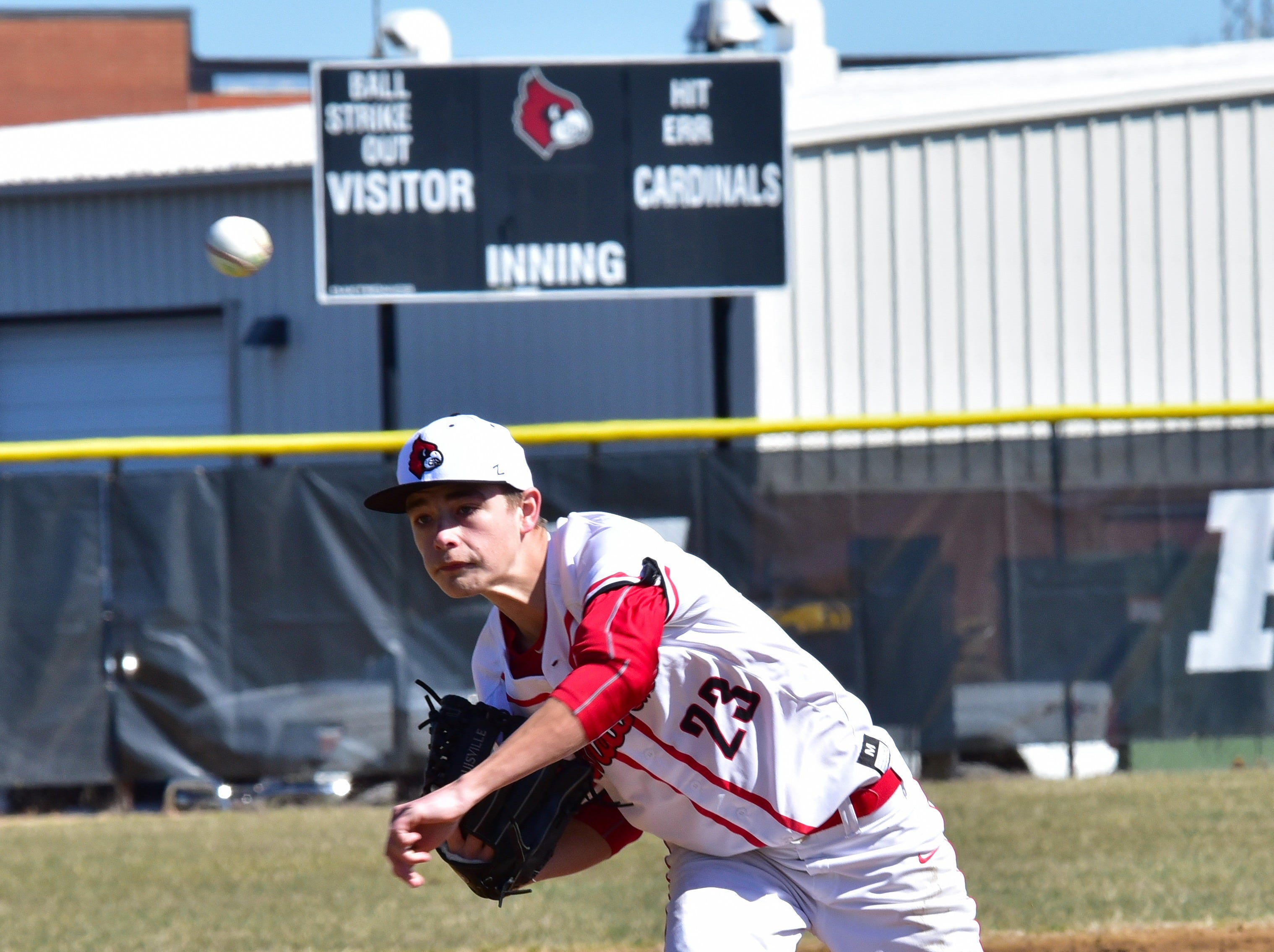 Dylan Gervers was on the bump for Colerain on opening day of high school baseball at Colerain High School, March 23, 2019.